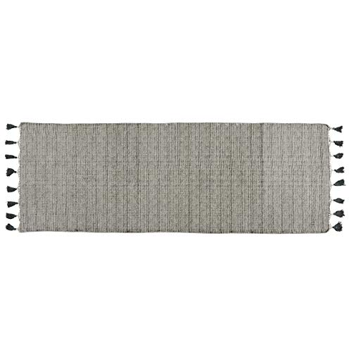 My Swanky Home Luxe Linear Black Gray Area Rug Runner | 2x8 Tassel Casual Striped Cotton -