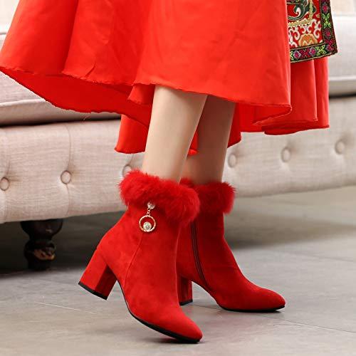 HBDLH Damenschuhe Schuhe Schuhe Hochzeit Frauen Herbst Und Winter Winter Winter Dicke Schuhe 7Cm Hohen Absätzen Braut Rote Schuhe Toasts Hochzeit Schuhe 35 des 647b28