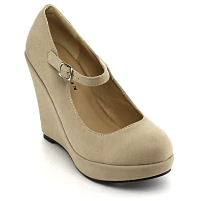 0a039e27768c Image Unavailable. Image not available for. Color  Bonnibel Dolly-1 Womens  Round Toe Mary Jane Platform Wedge ...