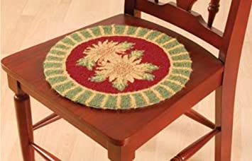 Nice 14.5u0026quot; Round HOOKED CHAIR PAD, SUNFLOWER