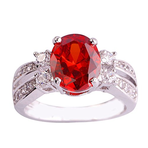 Empsoul Women's 925 Sterling Silver Natural Chic Filled Oval Cut Garnet Topaz Wedding Proposal Ring (Date Garnet Ring)