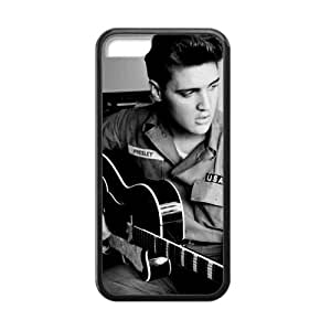 Morimo Custom Protective Phone Case for iPhone 5C,Handsome Elvis?Presley Guitar Playing Laster Technology Nice Quality Plastic and TPU Cover