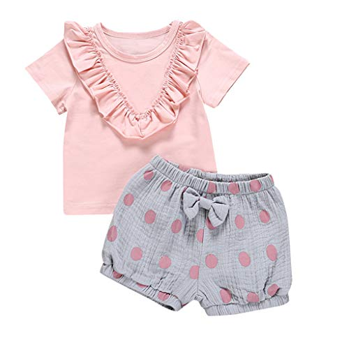 NUWFOR Toddler Baby Girls Short Sleeve Ruffle Solid Tops+Dot Print Shorts Outfits Sets(Pink,2-3 -