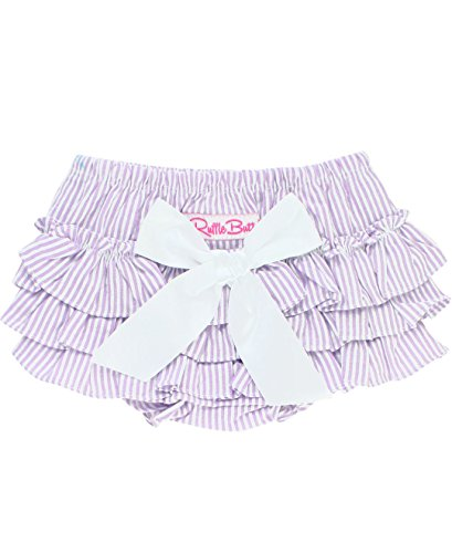 RuffleButts Infant/Toddler Girls Striped Seersucker Ruffled Bloomer - Lilac Seersucker - 18-24m Pink Striped Seersucker