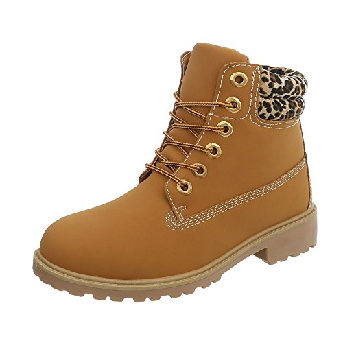 Women's Boots Block Heel Lace-Up Ankle Boots at Ital-Design Camel Multi Ym575 BAmqRlPNA7
