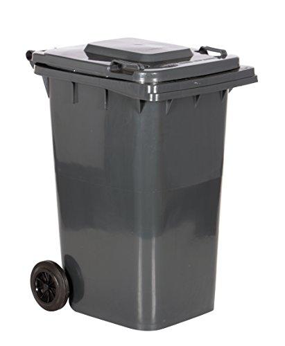 "Vestil TH-64-GY Trash Can, 64 lb. Capacity, 28.56"" Length, 23.5"" Width, 39.94"" Height, 29-1/4"" Depth, High Density Polyethylene (HDPE), Gray"