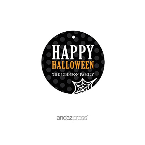 Andaz Press Classic Black and Orange Halloween Party Collection, Personalized Round Circle Gift Tags, 24-Pack, Custom Name]()