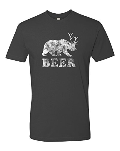 (Panoware Men's Beer T-Shirt | Beer Bear Deer, Heavy Metal XXX-Large)