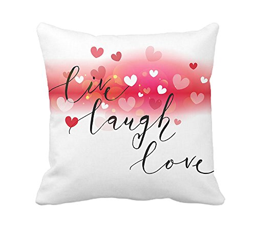 Live Laugh Love Heart Throw Pillow Case Cushion Cover Cotton Polyester 18 x 18 Inch Valentine's Day Home Decoration (Home Decorations Valentine)