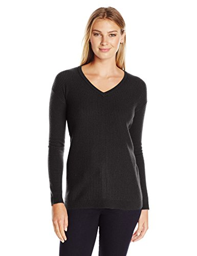 Lark+%26+Ro+Women%27s+Cashmere+Textured+Front+Deep+V-Neck+Pullover%2C+Black%2C+X-Small