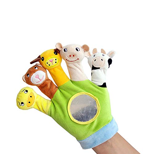 Plush Animals Finger Puppet Toys Different Cartoon Animal Puppets Glove Toys for Children Kids Babies Toddlers