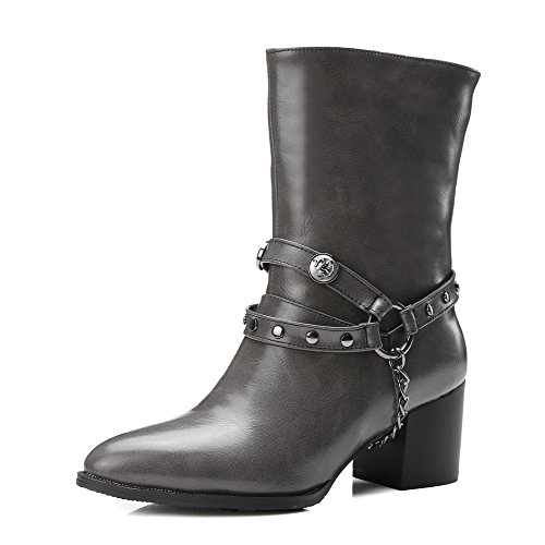 Allhqfashion Women's Pull On Kitten Heels Pu Solid Mid Top Boots Gray