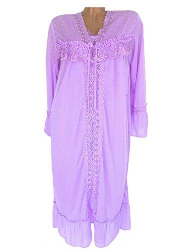 Soie Chemise de nuit femme + Kimono/robe avec dentelle et volants, Violet, lilas, n ° le-Da-Lite 6981#