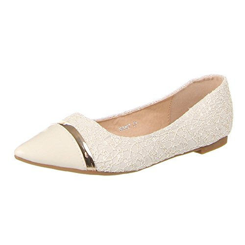 Ital-Design Damen Schuhe, WH67, Ballerinas Beige