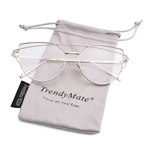 TrendyMate-Womens Street Fashion Metal Twin Beam Flat Mirror Lens Cat Eye Sunglasses … (Silver / Transparent, (Beam Lens)