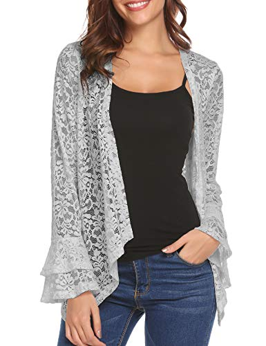 Lace Cardigan Sweater - Dealwell Women's Lace Cardigan Lightweight 3 4 Sleeve Dressy Shrug Summer Jacket (Grey, M)