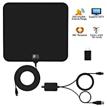 TV Antenna, Arestech Indoor Amplified HDTV Antenna 50 Miles Range with Detachable Amplifier Signal Booster for The and 16.5 Feet Coaxial Cable