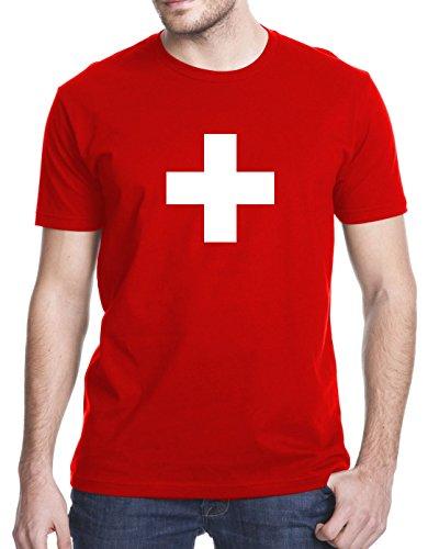 Switzerland Flag T-shirt (Switzerland Swiss Flag T-Shirt, Large, Red)