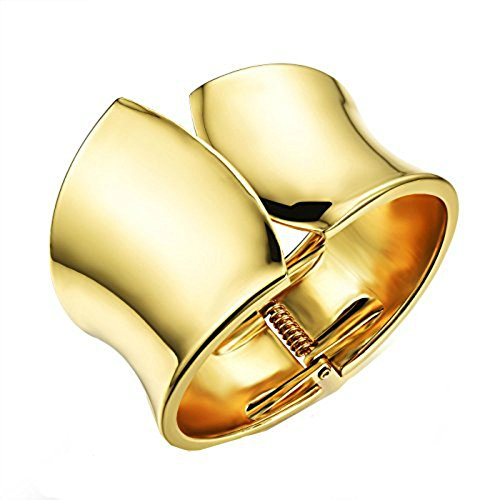 Fate Love Simple Design Curve Polished Finished Cuff Wide Bangle Bracelet Gold for (9 Ct Gold Bangles)