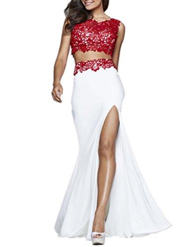 Royaldress Rot/Weiss Damen Spitze Chiffon Abendkleider ...