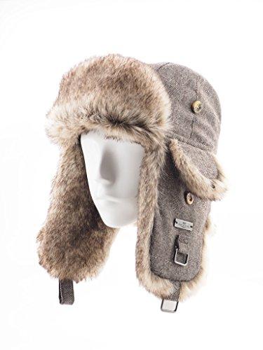 FUR WINTER Wool Blend Herringbone Faux Fur Aviator Outdoor Trapper Trooper Pilot Ski Hat BRN M/L