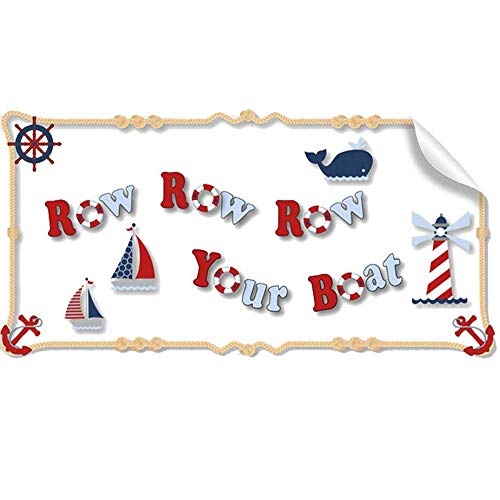 Nautical Row Your Boat Quote Removable Vinyl Wall Sticker Saying Red White Blue Sailing Sea Ocean Decals Quotes Children Nursery Baby Room Decor Boys Bedroom Walls Decorations Child Decal Stickers Art