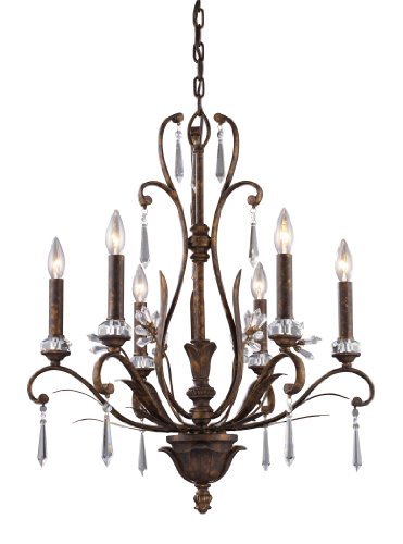Elk 2183/6 6-Light Chandelier In Burnt Bronze - Bellacor Metal Chandelier