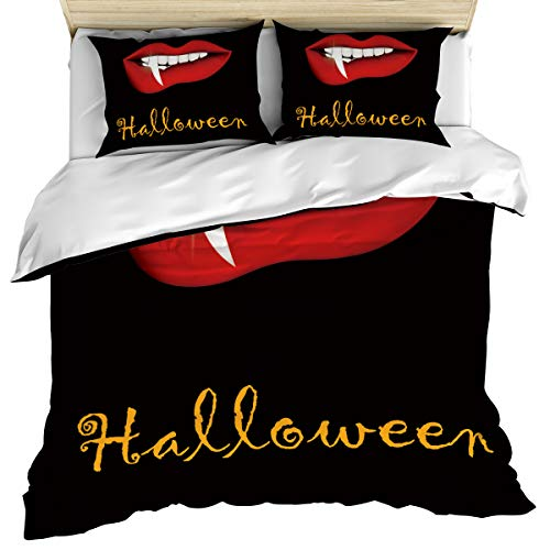 wanxinfu 3 Piece Duvet Comforter Cover Set Queen Size, Halloween Vampire Red Lip Teeth Home Decorative Zippered Quilt Cover Teen Room Decor Bedding Set Include 1 Duvet Cover and 2 Pillow Case -