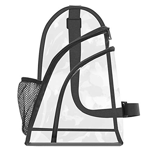 MOSISO Clear Sling Backpack, TSA/NFL Stadium Approved Waterproof Hiking Daypack Multipurpose Rope Chest Shoulder Satchel Travel Outdoor Sports Crossbody Bag for Men Women Girls Boys, Clear & Black