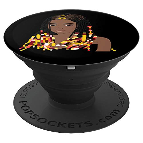 Natural Hair CORNROW BRAIDS and BEADS BLACK 3 - PopSockets Grip and Stand for Phones and Tablets ()