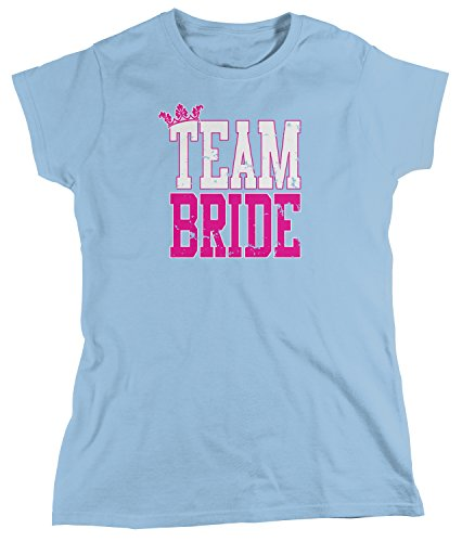 Amdesco Women's Team Bride, Bridal Bachelorette Party T-Shirt, Light Blue Large