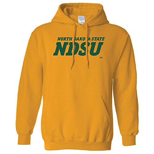 Campus Merchandise NCAA North Dakota State Bison Men's Long Sleeve Hoodie, Large, Gold (Yarn Bison Gold)