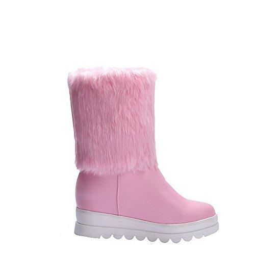 Allhqfashion Women's Solid PU High-Heels Pull-on Round Closed Toe Boots Pink GDecRWVp
