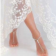 66035e54cc7ff Beaded Barefoot sandals Bridal foot jewelry Rhinestone and Pearl Beach  wedding.