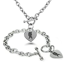 Stainless Steel Disney Princess Frozen Elsa Heart Charm Bracelet & Necklace