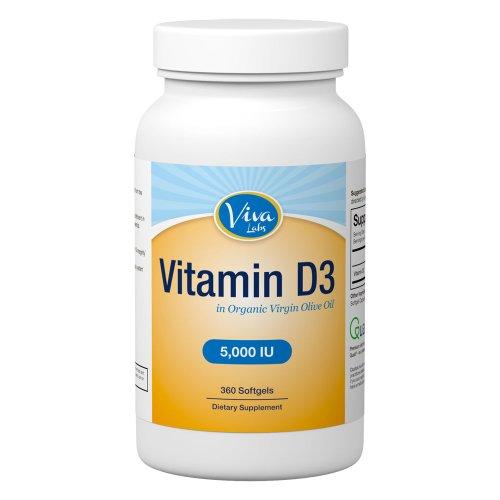 Viva Labs vitamine D3 5000 UI: sans OGM, la vitamine D dans l'huile d'olive bio pour Haute Absorption, 360 gélules