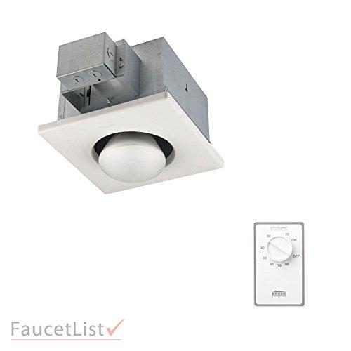 Broan Single Heater - Broan 161 Infrared Single-Bulb 250-Watt Heater for Spot Heating in Bathroom Broan INCLUDES White Dehumidistat Automatic Humidity Sensing Wall Control Kit