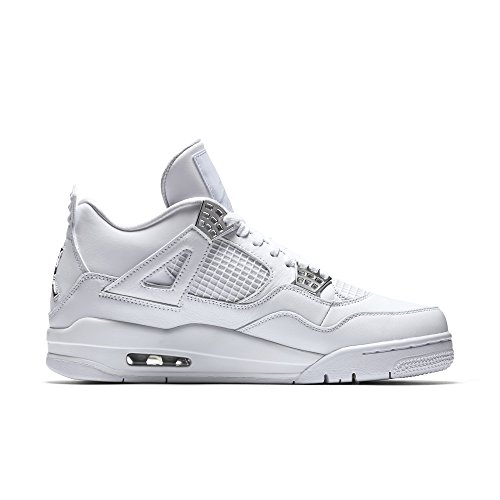 "Nike Herren Air Jordan 4 Retro 30. ""Teal"" Teal / Weiß-Schwarz Leder Basketball Schuhe Weiß, metallisches Silber"