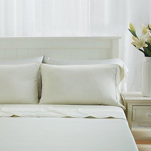 Premium 100% Organic Bamboo Fiber 4-Piece Sheet Set, Fits Mattresses up to 18