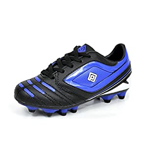 DREAM PAIRS 151028 Boy's Athletic Light Weight Lace Up Outdoor Fashion Sport Cleats Soccer Shoes (Toddler/Little Kid/Big Kid) Black-Blue Size 13