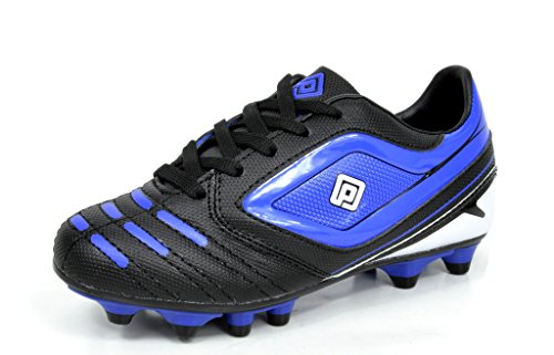 DREAM PAIRS 151028 Boy's Athletic Light Weight Lace Up Outdoor Fashion Sport Cleats Soccer Shoes (Toddler/Little Kid/Big Kid) Black-Blue Size - Little Size Kid