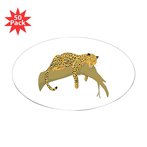 CafePress - Lazy Leopard Oval Sticker (50 Pk) - Sticker (Oval 50 (Lazy Leopard)