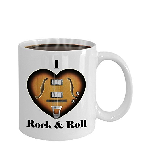 Rock & Roll will never die! I Love Heart Rock & Roll Coffee Mug. For fans of Chuck Berry, the Beatles, Elvis, and other Rock & Rollers. A unique gift for guitarists and Rock & Rollers at heart