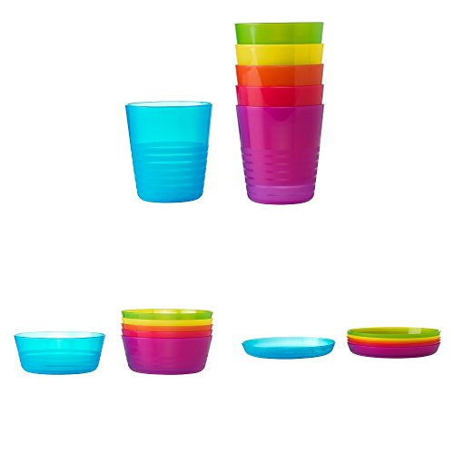 Ikea Kalas Children's 18-Piece Plate/Bowl/Cup Set, Dishwasher and Microwave...