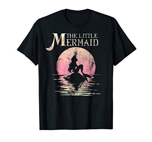 Disney The Little Mermaid Ariel Rock Moon Silhouette T-Shirt -