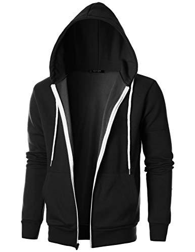 GIVON Mens Slim Fit Long Sleeve Thermal Faux Fur Zip-up Hoodie With Kanga Pocket