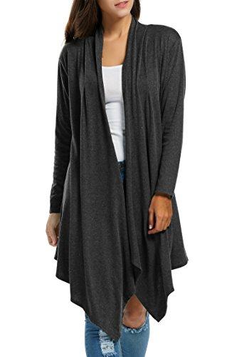 Zeagoo Women Long Sleeve Draped Open Front Fall Cardigan Sweater,Black,X-Large