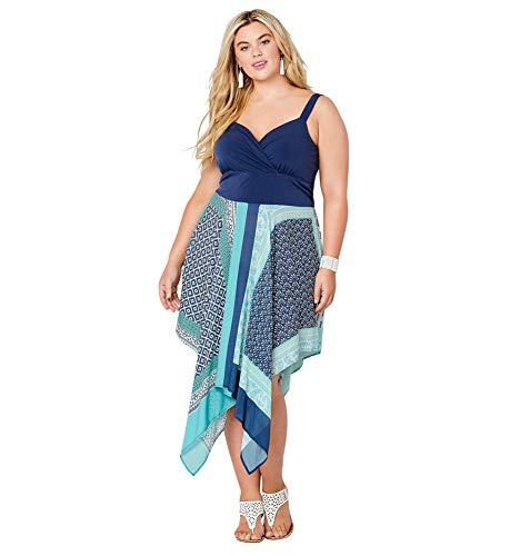 Avenue Women's Riviera Blues Blue Scarf Print Handkerchief Hem Dress, 18/20 - Dress Banded Scarf Print