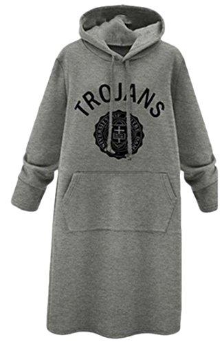 Beloved Women Letter Printing Hoodies Fashion Loose Casual Long Sleeve Sweatshirts Grey XS