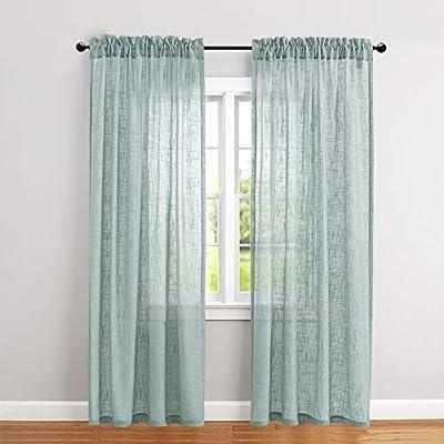 Amazon.com: jinchan Linen Textured Sheer Curtains Rod Pocket ...